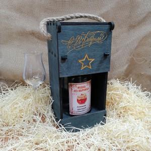 """Подарочная коробка для бутылки с гравировкой """"23 февраля"""""""