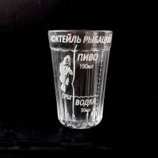 """Граненый стакан с гравировкой """"Коктейль рыбацкий"""""""